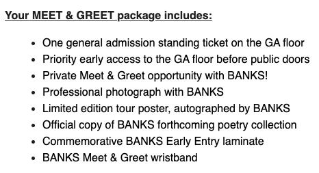 Meet & Greet BANKS Packages